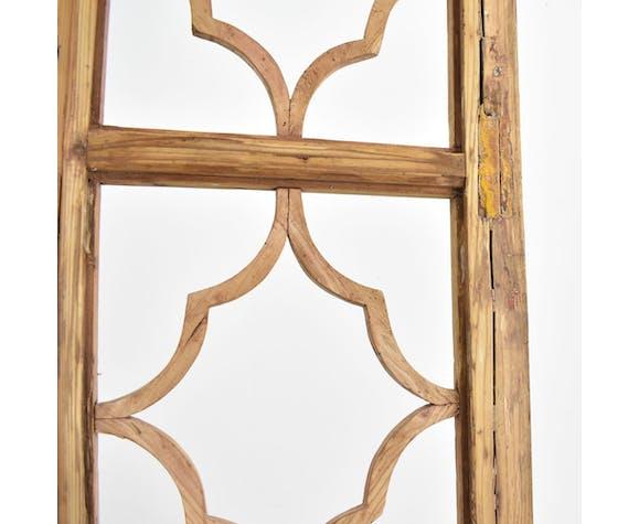 Diviseur de pièce de porte en bois antique à 2 panneaux
