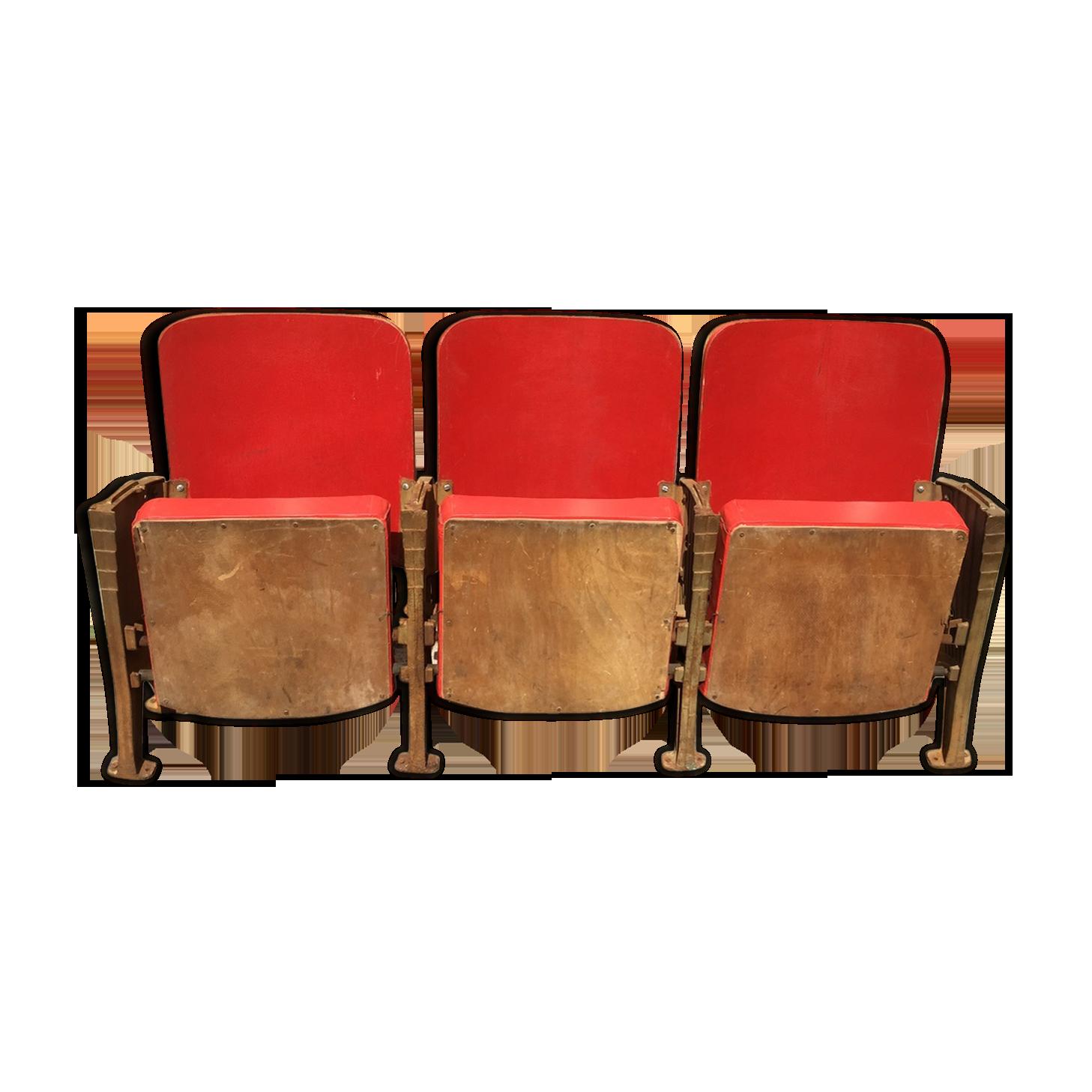 Banquette de cinéma sièges rouges skaï et bois pieds art déco