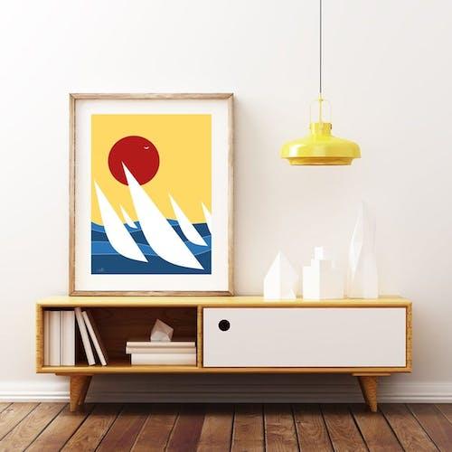Régate, art minimaliste illustration 30x40