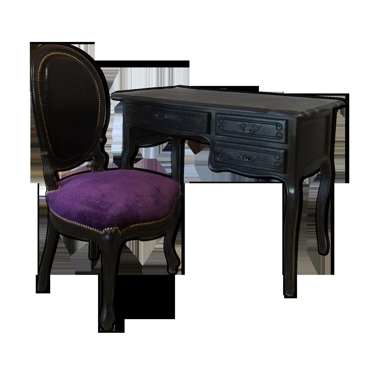 Bureau louis xv noir avec sa chaise médaillon bois matériau