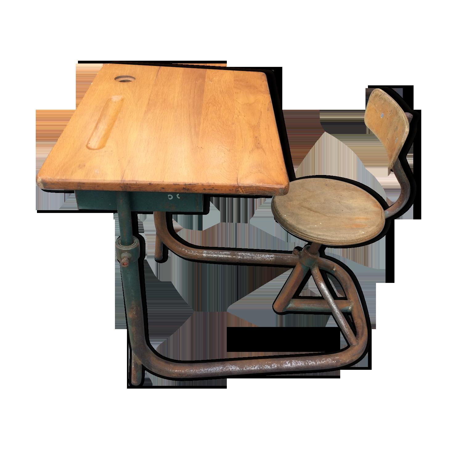 Bureau d écolier années fer bois couleur vintage lszblaq