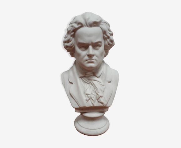 Buste Beethoven biscuit porcelaine pied douche