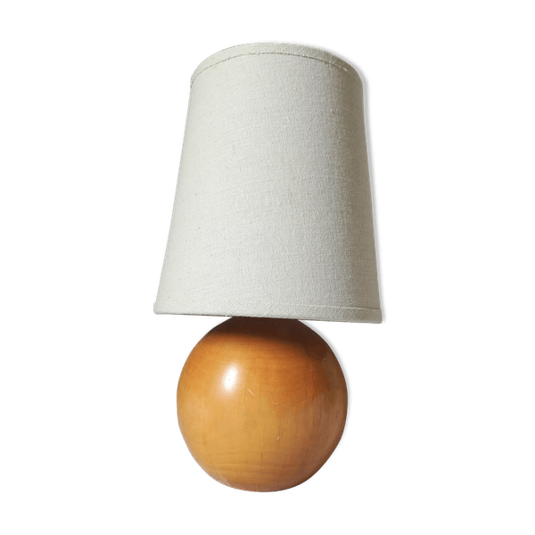 Lampe de chevet boule en bois   Selency