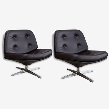 2 vintage club seats from the fifties in semi-leather brown