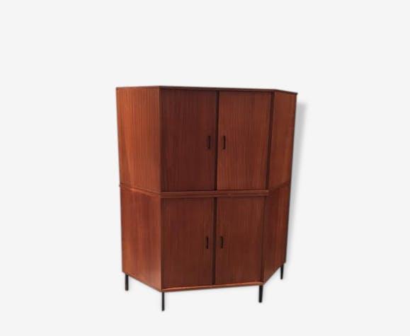 Petit meuble d 39 angle vintage bois mat riau bois Petit meuble d angle
