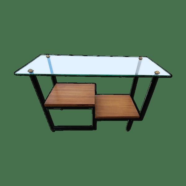 Table Basse En Verre Bois Et Metal Bois Materiau Transparent Bon Etat Vintage Gp5hu58z