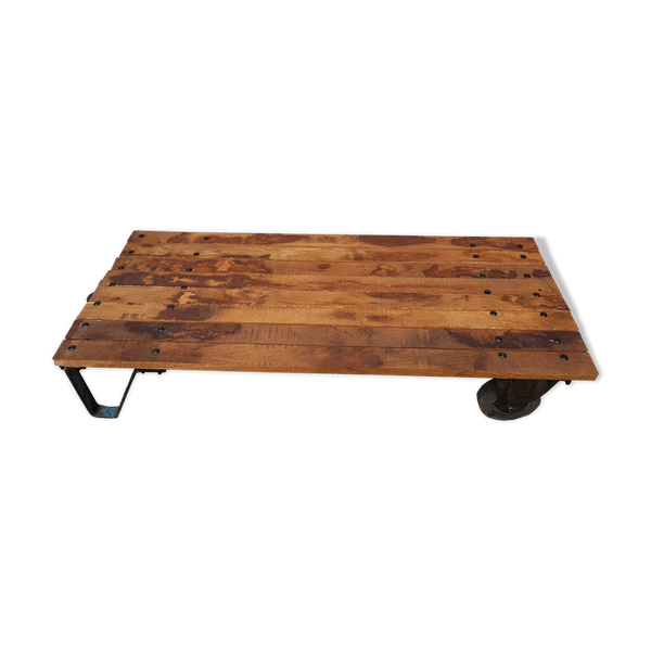 Trolley Coffee Table.Old Industrial Coffee Table Flour Trolley Metal Wooden Good Condition Industrial Huo1uye