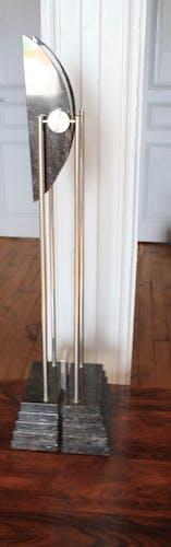 Lampe marbre et metal art deco