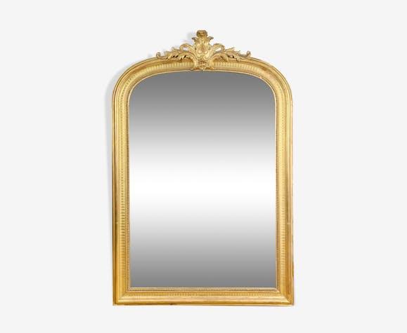 Miroir de cheminée en bois et stuc doré epoque Napoleon III - 147x99cm