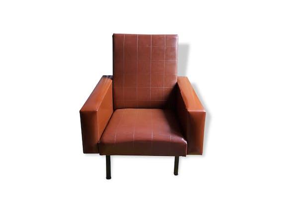 fauteuil camel en ska ann es 70 80 pieds compas ska marron vintage 115518. Black Bedroom Furniture Sets. Home Design Ideas