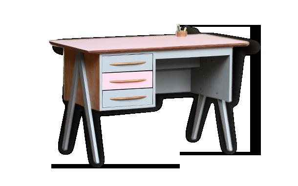Bureau porte et niche stella gris rose et blanc bureaux but