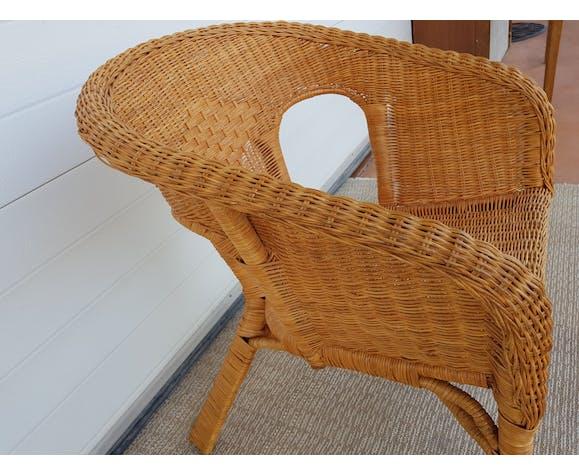 Fauteuil ancien années 50 60 en bambou rotin et osier vintage