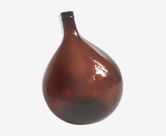 Dame Jeanne 10L ronde brune foncé en verre soufflé