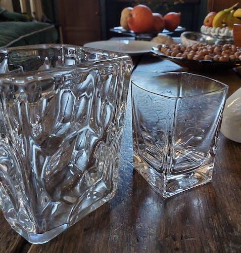 Ensemble verres à whisky et seau à glace