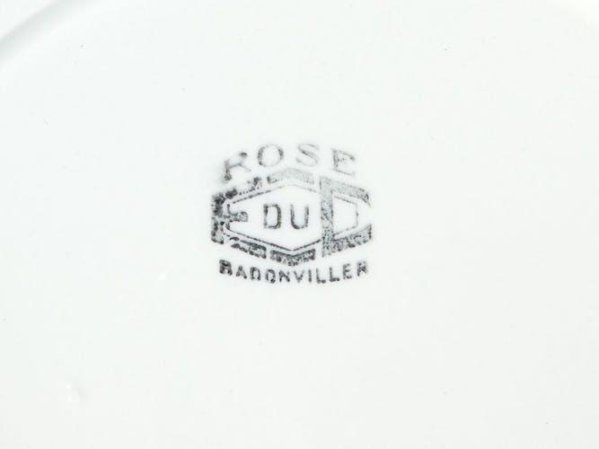 6 assiettes en faience de Badonviller modele rose bleu