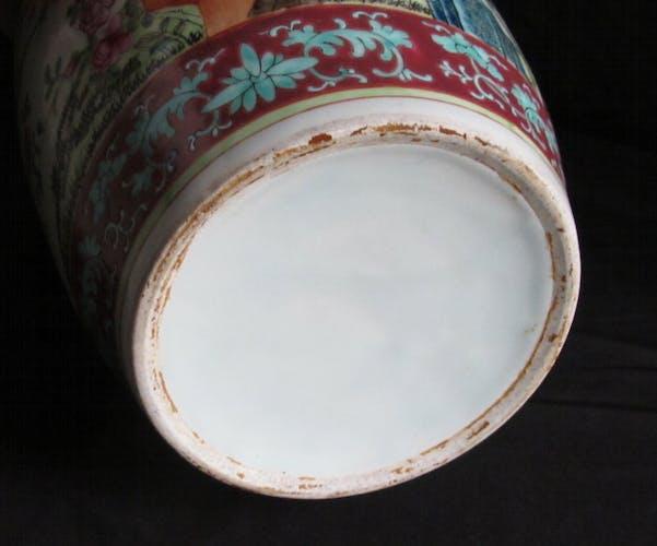 Vase chinois en porcelaine famille rose