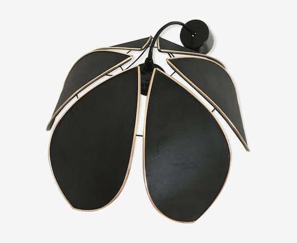 Suspension fleur de lotus en tissu noir 70'S