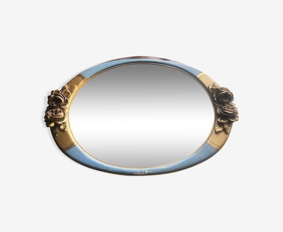 Joli miroir oval cadre doré et bleu 64x43cm
