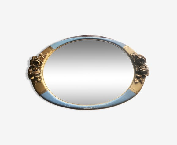Pretty oval mirror gilded and blue frame 64x43cm