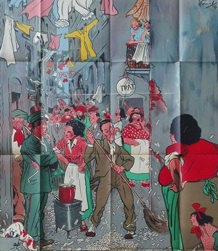 Affiche cinéma originale 1951 Naples millionnaire 120x160 cm vintage
