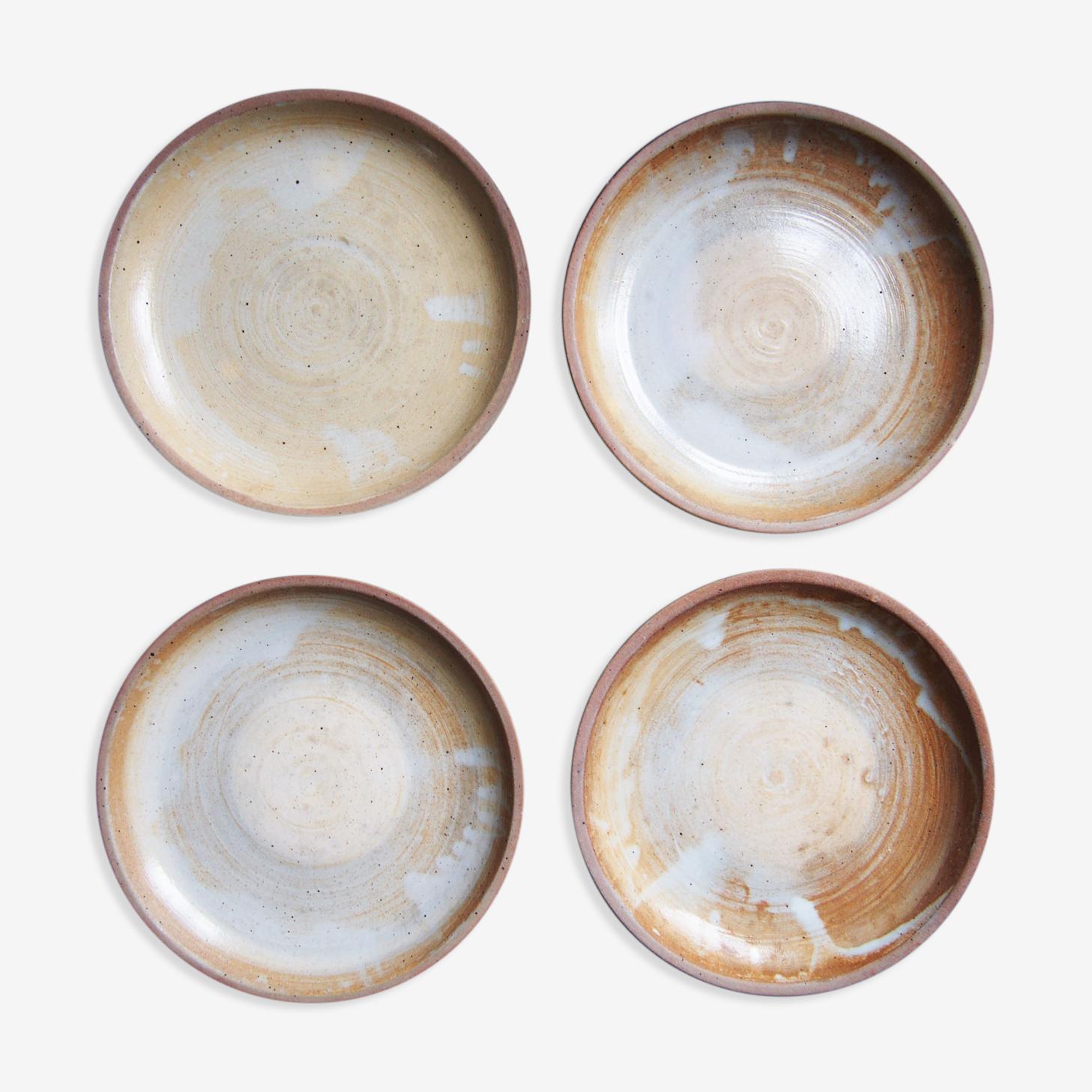 4 assiettes à dessert en grès émaillé