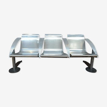 3-seat metal industrial bench France 1960s
