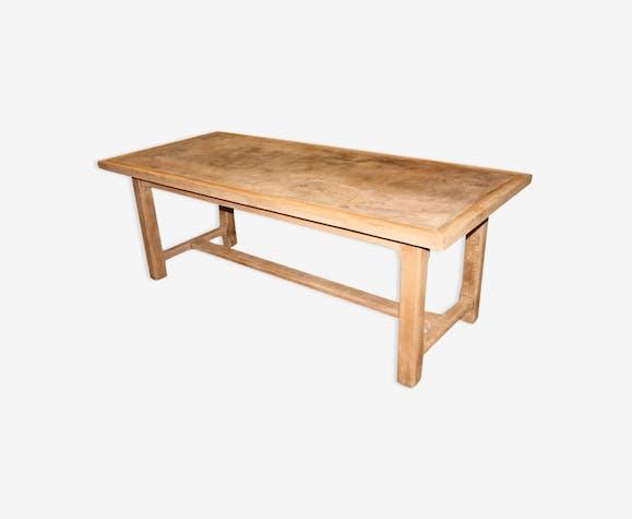 Table De Ferme Beton Cire Bois Materiau Bois Couleur