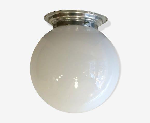 lampe applique plafonnier vintage ancien globe boule en verre opaline blanche verre et cristal. Black Bedroom Furniture Sets. Home Design Ideas