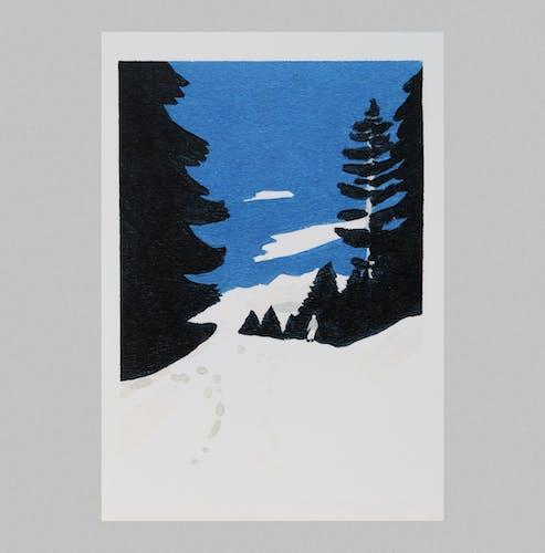La Montagne, série de 3 illustrations verticales au format 14,5 x 21 cm