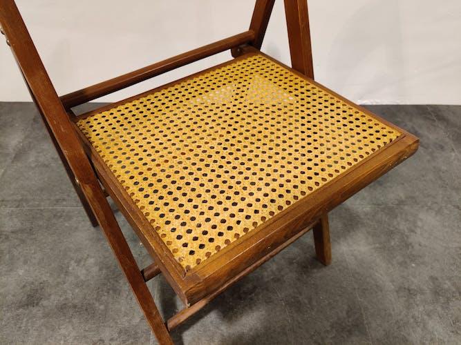Chaise pliante en rotin vintage, années 1960