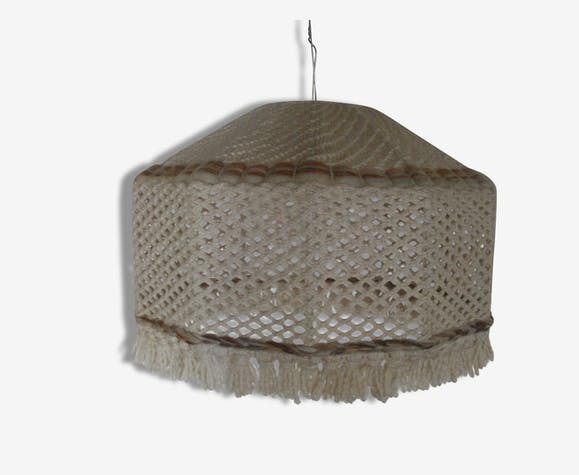 abat jour scandinave vintage en macram de laine fer. Black Bedroom Furniture Sets. Home Design Ideas