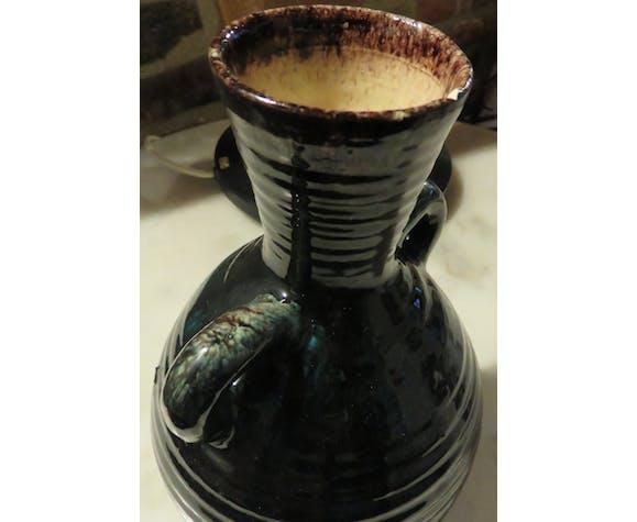 Accolay blue/black ceramic ear vase