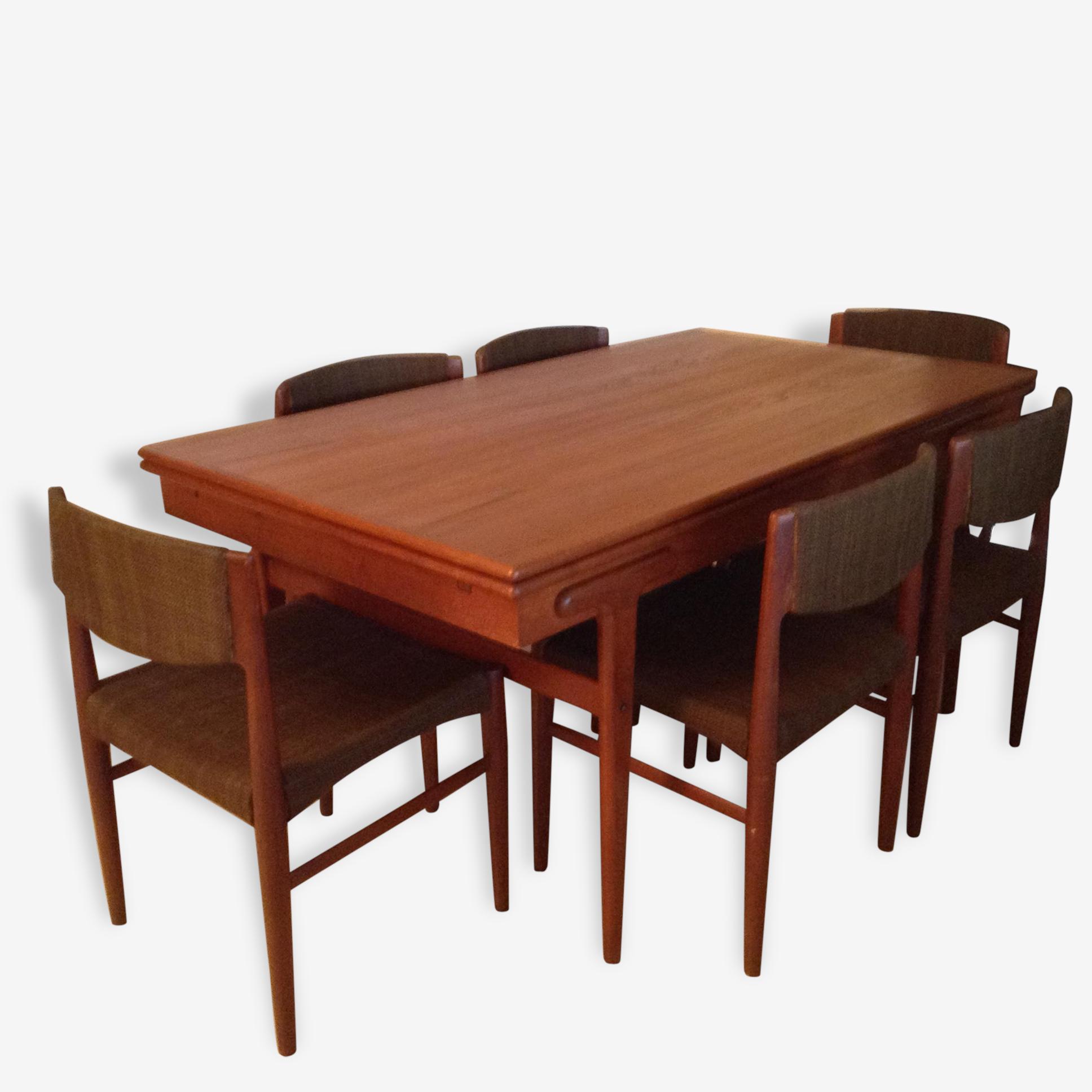 Table De Salle A Manger Vintage Avec 6 Chaises Teck Bois