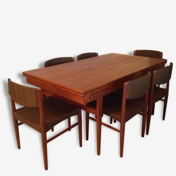 Table dining table with 6 chairs vintage