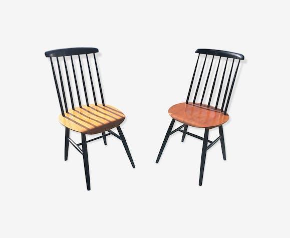 Paire de chaises à barreaux