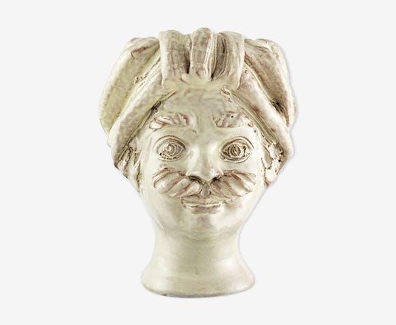 Mini white head vase man