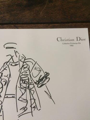 Illustration de mode de presse Christian Dior collection printemps - été 1985