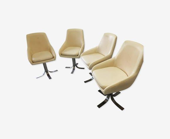 Lot de 4 fauteuils tulipe skaï et piètement métal