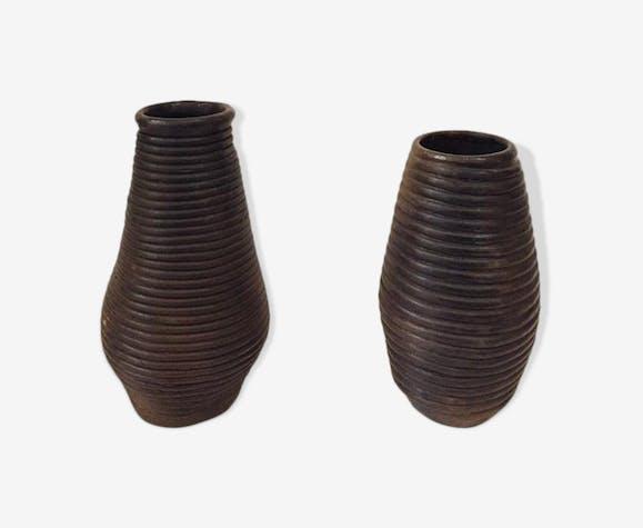 Paire de vases montés au colombin, circa 1980