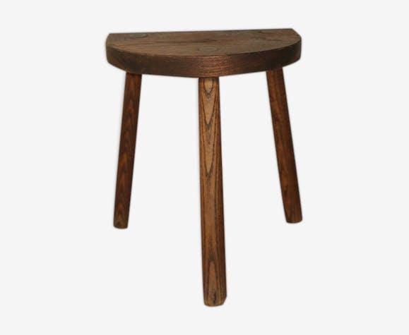 Dark wood farm stool