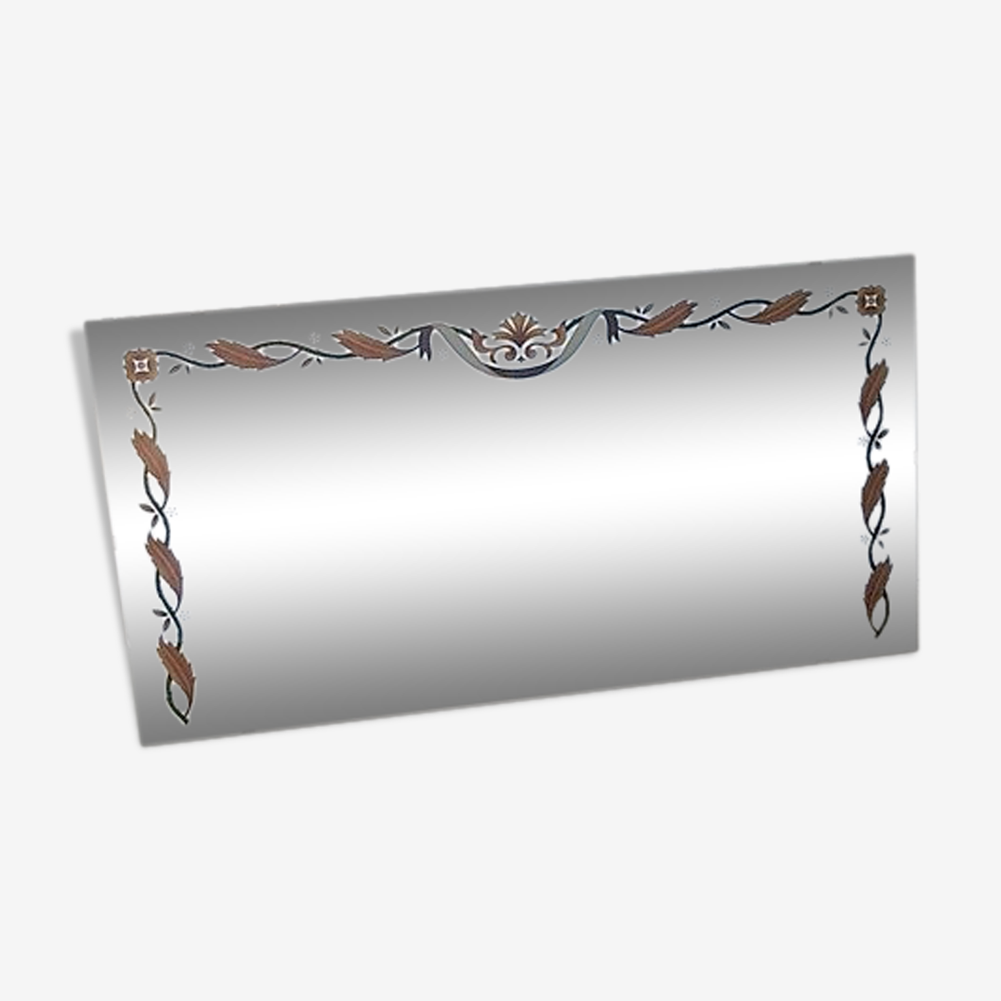 Venetian mirror with flower and leaf decoration 69x132cm