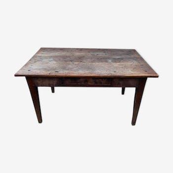 Table de ferme en chêne massif avec 1 tiroir 130cm