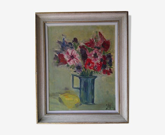 Bouquet au citron huile sur panneau signé