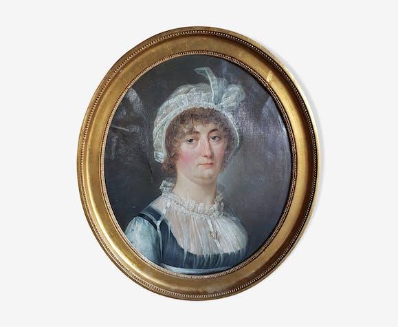 Tableau - portrait jeune femme, fin XVIIIème - début XIXème