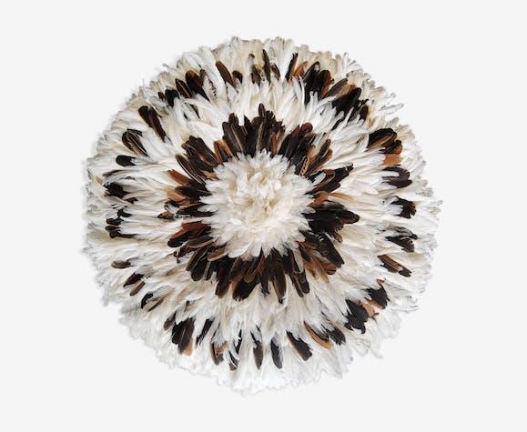 Juju hat blanche en plumes fait main 80 cm