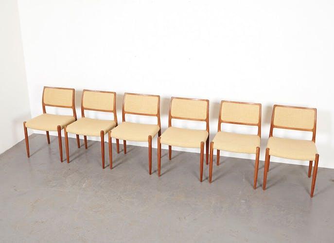 Chaises modèle 80 par N.O. Moller pour J.L. Mollers Danemark 1968