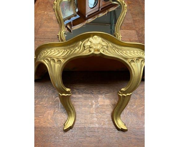 Miroir avec console baroque doré