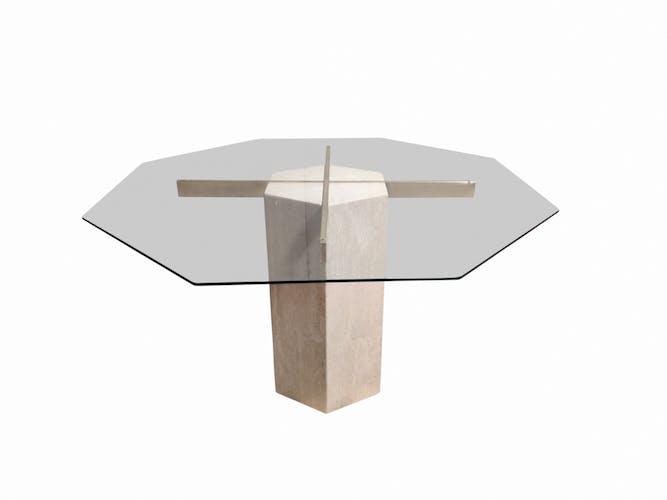 Table à manger octogonale Vintage Artedi, années 1970