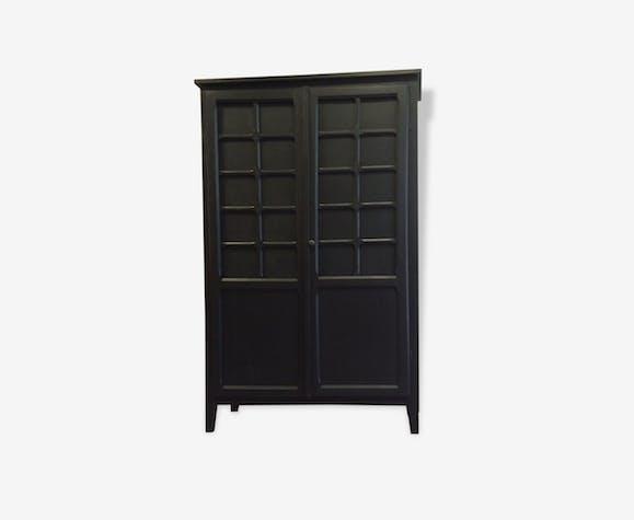 armoire parisienne vintage repeinte en noir et bleu int rieur tapiss bois mat riau noir. Black Bedroom Furniture Sets. Home Design Ideas