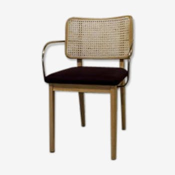 Light wood caning chair without plum armrest